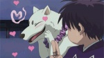 <3 animated ayakashi blush canid canine canis domestic_dog duo feral fur human kekkaishi loop low_res madarao male mammal screencap unknown_artist white_fur yoshimori