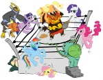 applejack_(mlp) blonde_hair blue_eyes blue_fur bulbasaur cutie_mark cyan_body earth_pony emboar empoleon equine eyes_closed female feral fighting_ring fluttershy_(mlp) friendship_is_magic fur group hair hat horn horse long_hair magikarp mammal multicolored_hair my_little_pony nintendo orange_body pegasus pink_body pink_fur pink_hair pinkie_pie_(mlp) pokémon pony purple_body purple_hair rainbow_dash_(mlp) rainbow_hair rarity_(mlp) red_eyes rope short_hair snorlax stairs tennis_racquet twilight_sparkle_(mlp) unicorn unknown_artist video_games white_body wings  Rating: Safe Score: 2 User: Ohnine Date: August 08, 2011
