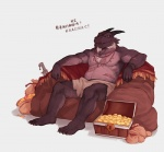 anthro chinese_text claws clothed clothing eye_patch eyewear jewelry kemono looking_at_viewer lower lowerkuo male necklace scalie scar sitting solo text topless translated treasure_chestRating: SafeScore: 14User: smat_dragonDate: June 26, 2017