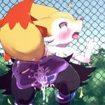 2016 anthro black_fur blush braixen canine ditto ear_tuft female forced fox fur mammal nintendo open_mouth pocket_drop pokémon pussy rape red_eyes text tongue tuft vaginal video_games yellow_fur  Rating: Explicit Score: 19 User: voldosbt Date: February 24, 2016