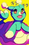 2016 blue_eyes brionne cute cute_eyes female feral honrupi looking_at_viewer mammal marine nintendo open_mouth pink_eyes pinniped pokémon pokémon_(species) simple_background solo text video_games yellow_background