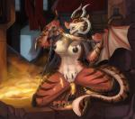 2015 anthro black_nipples breasts chain dragon female horn merrunz nipples nude pussy red_eyes solo wings  Rating: Explicit Score: 70 User: Numeroth Date: July 19, 2015