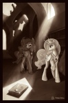 2014 book castle crown cutie_mark duo equine female feral friendship_is_magic hair horn horse library mammal marbleyarns monochrome my_little_pony pony princess_celestia_(mlp) princess_luna_(mlp) royalty ruins sepia sunlight winged_unicorn wings   Rating: Safe  Score: 10  User: Somepony  Date: May 01, 2014