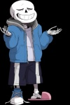 2016 alpha_channel animated_skeleton bone clothing english_text eyes_closed footwear hoodie male sans_(undertale) shirt shoes shorts signature simple_background skeleion skeleton slippers smile solo sweater text transparent_background undead undertale video_games