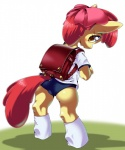 apple_bloom_(mlp) blush cub equine female friendship_is_magic fur hair horse mammal my_little_pony orange_eyes oze pony red_hair schoolgirl solo yellow_fur young   Rating: Safe  Score: 5  User: DragonRanger  Date: March 11, 2014