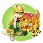 anthro bare_shoulders black_nose blue_eyes boots bracelet brown_fur canine dinosaur duo feral fingerless_gloves fox fox_mccloud fur gloves hug jacket jewelry male mammal nintendo prince_tricky scarf sitting smile spikes star_fox teeth unknown_artist video_games white_fur   Rating: Safe  Score: 3  User: Cαnε751  Date: March 01, 2015