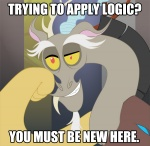 digital_media_(artwork) discord_(mlp) draconequus english_text friendship_is_magic humor image_macro male meme my_little_pony peachiekeenie reaction_image red_eyes solo text