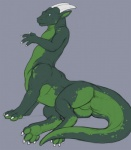 blue_eyes butt claws digitigrade dragon dragontaur green_body hindpaw horn male nude paws pinup pose scalie smile solo taur tojo_the_thief tojo_the_thief_(character)