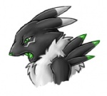 acidrenamon alternate_color anthro black_fur bust_portrait canid canine digimon digimon_(species) dipstick_ears fan_character female forceswerwolf fur green_eyes green_tongue hybrid low_res mammal multicolored_ears neck_tuft open_mouth portrait renamon side_view solo thumbnail tongue tuft white_fur