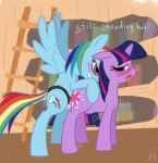 2012 abdominal_bulge blue_feathers blue_fur blush book bookshelf cutie_mark dialogue dildo drooling duo english_text equine feathers female female/female feral friendship_is_magic from_behind fur hair half-closed_eyes hi_res horn ladder long_hair looking_back mammal multicolored_hair my_little_pony open_mouth pegasus penetration purple_eyes purple_fur purple_hair pussy_juice rainbow_dash_(mlp) rainbow_fur rainbow_hair rainbow_tail saliva sex sex_toy smile strapon sweat text tongue tongue_out twilight_sparkle_(mlp) two_tone_hair unicorn vaginal vaginal_insertion vaginal_penetration wing_boner wings  Rating: Explicit Score: 11 User: Metal-X Date: March 12, 2012