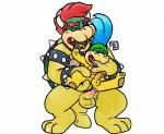 age_difference anal anal_penetration blue_hair blush bowser bowserboy101 cuffs_(disambiguation) cum cum_in_mouth cum_inside duo finger_in_mouth hair hand_in_mouth horn king koopa koopalings larry_koopa leash male male/male mario_bros messy nintendo oral penetration penis red_hair royalty saliva scalie shell simple_background size_difference video_games white_background young  Rating: Explicit Score: 4 User: Zest Date: January 30, 2016