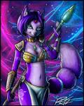 annoying_watermark anthro breasts canine cleavage clothed clothing collar fox fur green_eyes hair krystal mammal navel necklace polearm purple_fur purple_hair richardah skimpy solo staff star_fox tattoo unconvincing_armor video_games watermark   Rating: Safe  Score: 7  User: Munkelzahn  Date: February 27, 2014