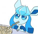 ambiguous_gender animated duo eating eeveelution eye_contact feral food glaceon nintendo pokémon robosylveon sylveon video_games wide_eyed  Rating: Safe Score: 15 User: JGG3 Date: November 22, 2015
