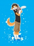 2010 blue_background canine clothing corgi cub dialog dog half-life happy hat headcrab hug lambda male one_eye_closed plain_background shirt shorts smile text unknown_artist valve wink young   Rating: Safe  Score: 6  User: TheDeckers  Date: December 08, 2012