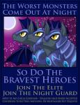 2014 amber_eyes armor bat_pony bat_wings border earth_pony english_text equine friendship_is_magic group helmet horn horse looking_up mammal membranous_wings moon my_little_pony night_guard_(mlp) pony poster royal_guard_(mlp) serious sky slit_pupils star starry_sky texasuberalles text unicorn wings