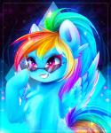 2016 blue_feathers blue_fur equine eyewear feathers female feral friendship_is_magic fur hair hi_res hooves koveliana long_hair mammal multicolored_hair my_little_pony pegasus pink_eyes rainbow_dash_(mlp) rainbow_hair smile solo sunglasses teeth wings  Rating: Safe Score: 15 User: Fur_in_the_dark Date: February 10, 2016