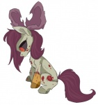 2012 8-xenon-8 apple_bloom_(mlp) blood cub cute equine female feral friendship_is_magic horse mammal my_little_pony pony red_eyes sad sitting solo stitches story_of_the_blanks undead young zombie   Rating: Safe  Score: 9  User: slyroon  Date: February 21, 2014