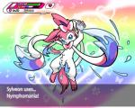 2015 abstract_background absurd_res blue_eyes eeveelution english_text female fur hi_res nintendo pink_fur pokémon pussy pussy_juice simple_background solo sylveon text twotails video_games white_fur  Rating: Explicit Score: 24 User: RioluKid Date: April 20, 2015
