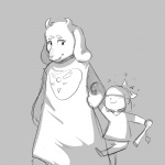 ambiguous_gender animal_ears blush caprine cub eyes_closed female goat hand_holding horn paws protagonist_(undertale) ribbons smile stick teeth toriel undertale young   Rating: Safe  Score: 4  User: Vaporeon  Date: August 17, 2013