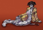angrboda anthro breasts brown_eyes canine clothed clothing coat dalmatian dog female lounging mammal nipples skimpy solo  Rating: Questionable Score: 4 User: Occam Date: July 31, 2015