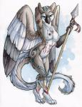 avian beak bird breasts female gryphon looking_at_viewer melee_weapon nipples nude owl paint polearm ruaidri solo spear tribal weapon wings  Rating: Questionable Score: 25 User: ippiki_ookami Date: January 27, 2016