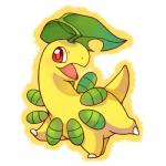 bayleef chibi cute daww feral flora_fauna huiro low_res nintendo open_mouth plant pokémon simple_background smile video_games white_background