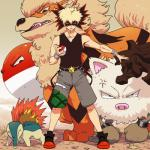 absurd_res arcanine cyndaquil hi_res human katsuki_bakugou mammal my_hero_academia nintendo pokéball pokémon primeape simple_background video_games voltorb zeaw90