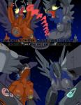 big_breasts breasts comic cybernetics cyborg dialogue digimon dragon english_text female gigadramon hair machine mankor mimi mugendramon nipples nude open_mouth pussy reptile scalie simple_background sora text transformation