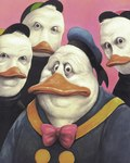anthro avian baseball_cap beak bird bow_tie clothing creepy dewey_duck disney donald_duck duck ducktales front_view group hat huey_duck looking_at_viewer louie_duck male manfred_deix missing_sample nightmare_fuel shirt