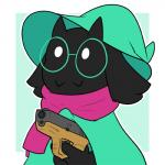 2018 bovid bran-draws-things caprine delet_this deltarune eyewear fangs glasses glock goat gun handgun hat hi_res male mammal pistol ralsei ranged_weapon reaction_image scarf simple_background solo video_games weapon