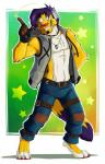 ango76 anthro armpits barefoot clothed clothing facial_hair feline fingerless_gloves fluffy fluffy_tail fur gloves green_background green_eyes hair headphones henry_hass hi_res jeans male mammal open_shirt pants paws pointing purple_hair red_nose signature simple_background smile solo standing vest whiskers white_background white_belly white_fur yellow_fur
