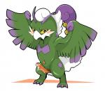 2014 anthro blush cum doneru erection feathered_wings feathers fur green_fur hi_res legendary_pokémon male nintendo nude penis pokémon simple_background smile solo tornadus video_games white_background wings