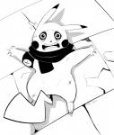 2014 black_and_white hi_res looking_at_viewer male mammal monochrome nintendo open_mouth pikachu pokémon rodent scarf shadow signature solo sweat tom_smith video_games  Rating: Safe Score: 2 User: Jatix Date: February 21, 2015