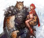 anthro armor big_hands big_muscles blonde_hair bra brown_nose cape carrying claws clothing cold collar couple detailed digital_media_(artwork) duo elf eye_scar fangs feline female footwear fur green_eyes guardian hair hammer holding_character huge_muscles humanoid ice interspecies jewelry kazeco loincloth male mammal multicolored_fur muscular navel orange_fur outside red_cape scar shoes size_difference skull snow spikes standing stripes tiger tools underwear warrior white_fur yellow_eyes  Rating: Safe Score: 7 User: Vanzilen Date: December 03, 2015