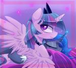 2015 <3 <3_eyes blue_hair blush collar crown duo equine eyes_closed female feral friendship_is_magic hair horn hug looking_at_viewer looking_back lying lyra-senpai mammal multicolored_hair my_little_pony princess_luna_(mlp) rear_view simple_background smile studded_collar twilight_sparkle_(mlp) winged_unicorn wings  Rating: Safe Score: 15 User: Somepony Date: November 04, 2015