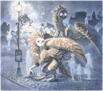 2011 arthropod avian black_eyes black_feathers brown_feathers butterfly castle city cityscape drachenmagier duo feathers glowing glowing_eyes gryphon human insect mammal owlgryphon sodium_butterfly street_lamp traditional_media_(artwork) watercolor_(artwork) white_feathers  Rating: Safe Score: 7 User: Furrin_Gok Date: February 07, 2016
