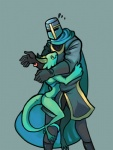 <3 anthro armor cape clothed clothing colored crown duo female green_skin helmet horn hug human knight knight_(towergirls) kobold kobold_princess male mammal princess royalty scalie simple_background size_difference skimpy towergirls unknown_artist unsure