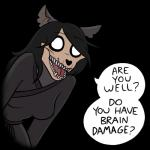 2018 alpha_channel anthro black_hair breasts canine clothed clothing digital_media_(artwork) english_text female hair keadonger looking_at_viewer mammal meme monster open_mouth scott_pilgrim_vs_the_world scp-1471 scp_foundation simple_background skull solo speech_bubble teeth text transparent_backgroundRating: SafeScore: 49User: AbyscidisDate: June 07, 2018
