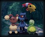 ambiguous_gender budew buneary canine chingling detailed_background feral flora_fauna forest group lagomorph mammal nintendo outside plant pokémon pokémon_(species) riolu tree unknown_artist video_games