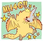 ambiguous_gender capcom chibi claws cute dragon feral gold_scales horn igriega japanese_text monster_hunter pinecone plain_background scales scalie seregios solo spiked_tail spikes text video_games wings wyvern   Rating: Safe  Score: 4  User: e17en  Date: February 22, 2015