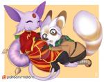 anthro chibi clothed clothing duo eeveelution espeon facial_hair female fur goatee male mammal master_shifu matemi nintendo pokémon pregnant red_panda smile video_games