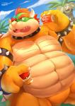 3_heads anthro belly beverage biceps bowser bracelet claws cloud collar detailed_background duo exeggutor front_view hair holding_object horn jewelry koopa male manly mario_bros mature_male multi_head muscular muscular_male nintendo nude obese ocaritna open_mouth outside overweight pecs plant pokéball pokémon pose red_eyes red_hair reptile scalie shell sky soda spiked_armlet spiked_bracelet spiked_collar spiked_shell spikes standing teeth tongue tree turtle video_games