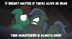 angry cutie_mark english_text equine eye_contact female friendship_is_magic horse jananimations male mammal my_little_pony pony text undead zombie   Rating: Safe  Score: 10  User: darknessRising  Date: January 06, 2014
