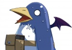 ambiguous_gender avian beak blue_body disgaea horn o_o open_mouth penguin plain_background pouch prinny skull standing stitches surprise sweat sweatdrop tongue unknown_artist white_background wings   Rating: Safe  Score: 10  User: Hiatuss  Date: October 22, 2012
