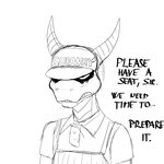 1:1 activision anthro clothing dragon english_text furgonomics hat headgear headwear hi_res hladilnik horn male meme menacing monochrome solo spyro spyro_the_dragon subway_(restaurant) text video_games