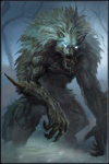 anthro blue_eyes canine fangs fluffy_fur forest fur male mammal mist muscular pointy_ears scary spikes tree unknown_artist were werewolf white_fur