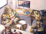 anthro asian bed blue_eyes book chair clothed clothing clouded_leopard computer feline green_eyes group leopard_cat male mammal nekojishi office_chair robbw scar socket table taiwan tattoo tiger tribal video_games yellow_eyes