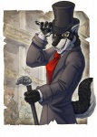 2008 anthro black_fur black_nose black_pawpads cane canine classy claws clothing fox fur hat hibbary looking_at_viewer male mammal pawpads solo suit tongue top_hat white_fur wolf yellow_eyes   Rating: Safe  Score: 27  User: Riversyde  Date: July 27, 2011