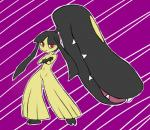abstract_background ambiguous_gender anthro crossed_arms digisushi hair long_hair looking_at_viewer mawile nintendo pokémon pseudo_clothing red_eyes simple_background solo teeth video_games