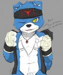 ace_the_gaomon anthro anthrofied arm_wraps athletic barely_visible_genitalia blue_fur bottomless canine chest_tuft clothed clothing countershade_torso dialogue digimon dog english_text fan_character front_view fur gaomon half-dressed hand_wraps headband heibanhikaru jacket male mammal muscular one_eye_closed pecs sheath signature solo text tuft undressing whistle wink  Rating: Explicit Score: 26 User: Circeus Date: June 21, 2015